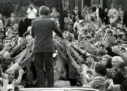 Robert Kennedy campaigning for hope